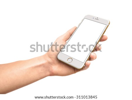CRACOW - August 28: Man hand holding the iPhone 6 gold isolated on white background, Poland on august 28, 2015. - stock photo