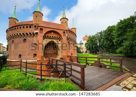 Cracow barbican - medieval fortifcation at city walls, Poland - stock photo
