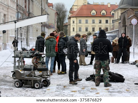 CRACOW, POLAND - FEBRUARY 12, 2016:  Shooting for a new biographical film about Tadeusz Kantor - the painter, the director, creators of the Theatre Cricot2. Cracow, Poland