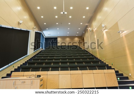 CRACOW, POLAND - JANUARY 29, 2015: Cracow - Jagiellonian Univesity . Faculty of Physics, Astronomy .Interior of modern lecture room