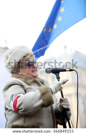 CRACOW, POLAND - JANUARY 23, 2015: Cracow, Main Square - The demonstration of the Committee of the Protection of Democracy / KOD/ against the break of law through the government PIS in Poland.  - stock photo
