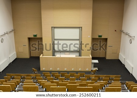 CRACOW, POLAND - JANUARY 29, 2015: University of Science and Technology interior of modern lecture room - stock photo