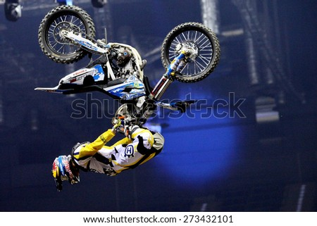 CRACOW, POLAND - MARCH 20, 2015: Show announcing world championship in FMX - Diverse Jump of the Night in Cracow