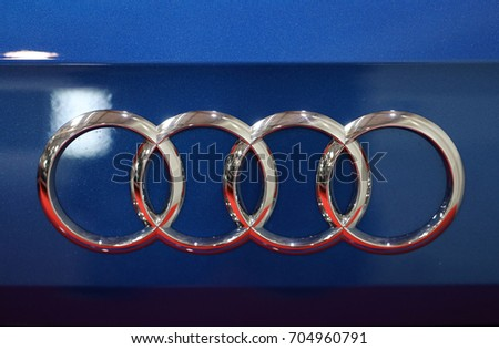 CRACOW, POLAND - MAY 20, 2017: Audi metallic logo closeup on Audi  car displayed at 3rd edition of MOTO SHOW in Cracow Poland. Exhibitors present  most interesting aspects of the automotive industry