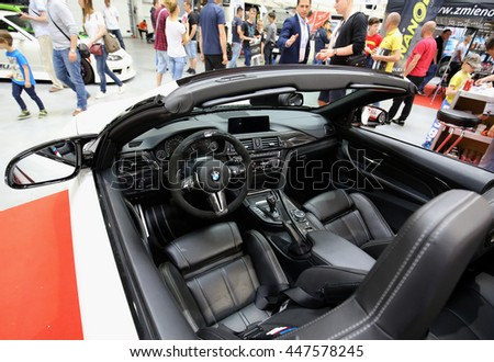 CRACOW, POLAND - MAY 21, 2016: BMW cabrio displayed at 3rd edition of MOTO SHOW in Cracow Poland. Exhibitors present  most interesting aspects of the automotive industry