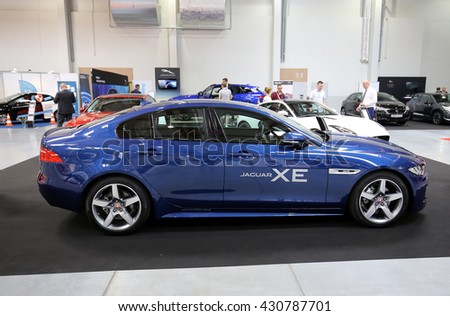 CRACOW, POLAND - MAY 21, 2016: Jaguar XE displayed at 3rd edition of MOTO SHOW in Cracow Poland. Exhibitors present  most interesting aspects of the automotive industry