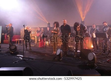 CRACOW, POLAND - NOV EMBER 6, 2016: Symphonica 2 Made in Poland. The music of cult, of underground, rock, metal- and punk Polish groups from years 80-these performed  by Filharmonia Futura  in Cracow.
