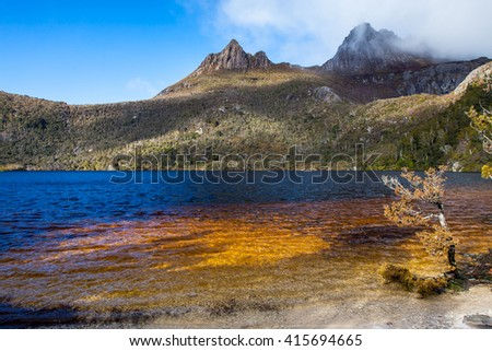 Cradle Mountain and Dove Lake in Cradle Mountain Lake St Clair National Park, Tasmania Australia - stock photo