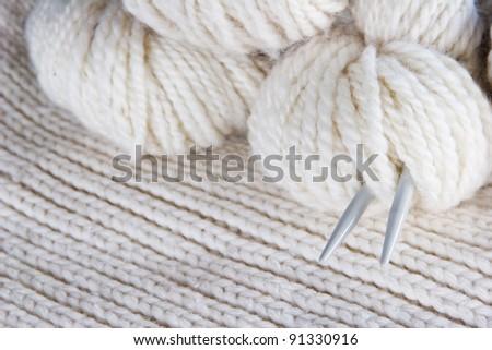 craft background - knitting, wool, needles - stock photo