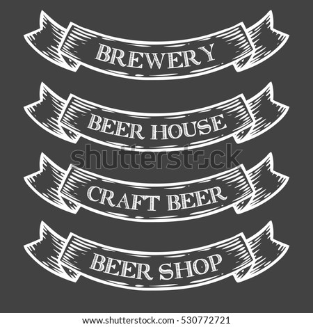 Set old vintage ribbon banners drawing stock vector for Craft beer online shop