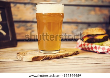 Craft Beer With Hamburger  - stock photo