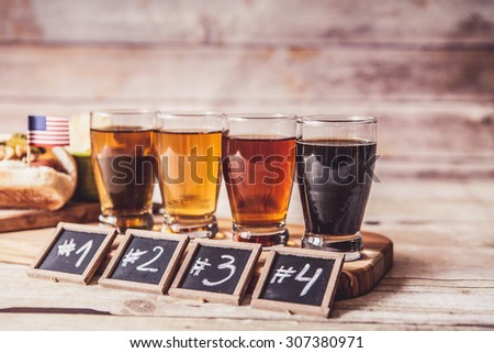 Craft Beer With Hot Dog - stock photo