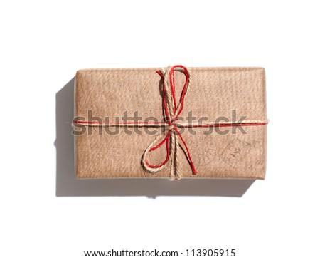 Craft gift box isolated on white background. - stock photo