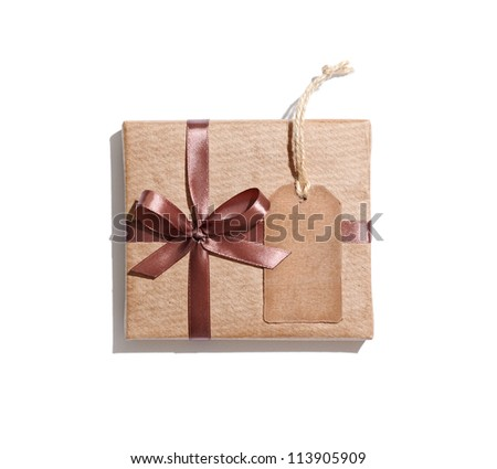 Craft gift box with gift tag isolated on white background. - stock photo
