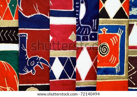 Craft Industry in Namibia and South Africa - Selection of colorful fabrics - stock photo