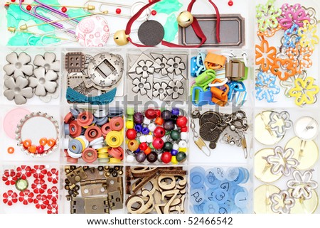 Craft materials in a box - stock photo