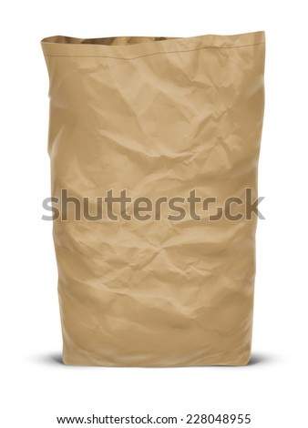 Craft paper eco bag isolated on white background - stock photo