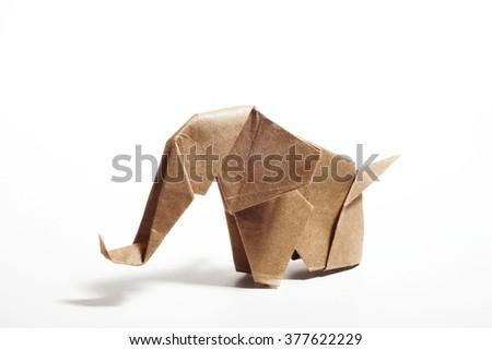 Craft paper origami elephant  isolated on white background - stock photo