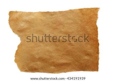 Craft paper piece isolated on white
