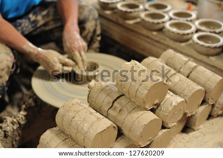 Craft pottery nonthaburi in Thailand - stock photo
