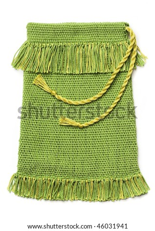 Craft project - green handwoven bag, isolated on white.