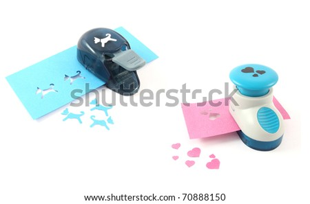 Craft punch, tool for scrapbooking - stock photo