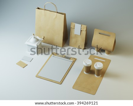 Craft set of branding elements for cafe or restaurant on white background - stock photo