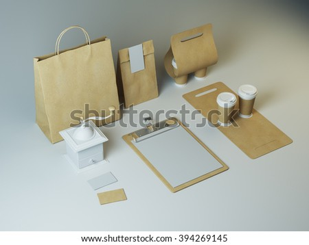 Craft set of takeaway branding elements for restaurant and cafe. Mockup of generic corporate objects - stock photo