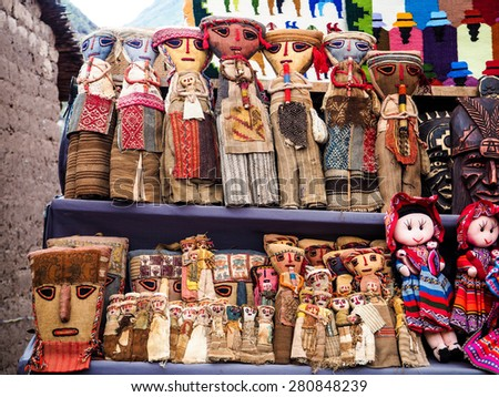 Craft wood handmade of Peru local products from Pisa Market - stock photo