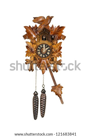 Crafted wooden made cuckoo clock with birdie out of house at 2 O'Clock position with arm in swing motion on white background - stock photo