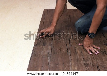 Craftman Hands Flooring Laminate Wood On Stock Photo Royalty Free