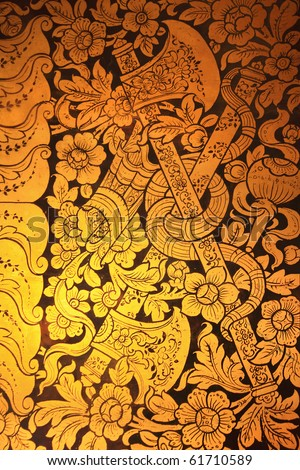craftman paint with gold leaf the historical arts of thailand