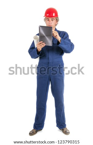 Craftsman at work with tablet isolated over white background - stock photo
