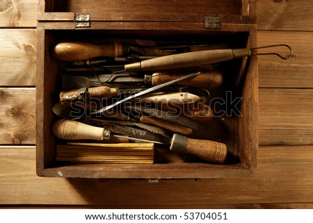craftsman carpenter hand tools artist craftsmanship - stock photo