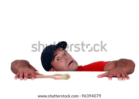 craftsman painter slipping and falling down - stock photo