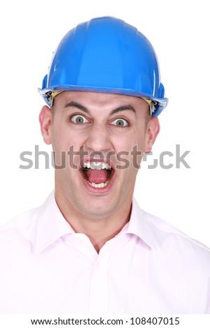 craftsman screaming - stock photo