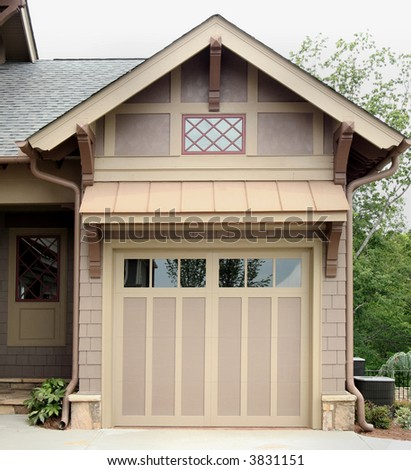 Craftsman style garage.  Transportation storage. - stock photo