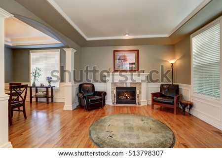 Craftsman Style Living Room Interior Design Stock Photo (100% Legal  Protection) 513798307   Shutterstock