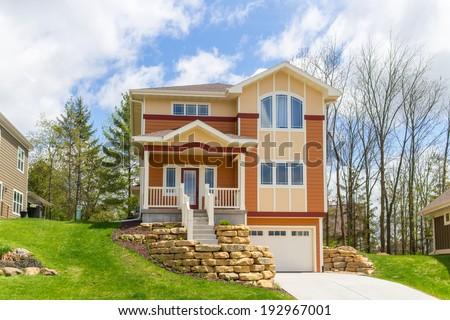 Craftsman style suburban home - stock photo