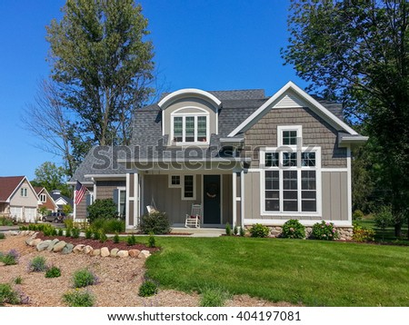 Craftsman style vacation home in a beach community - stock photo
