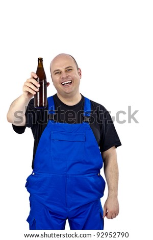Craftsman with a beer in the evening