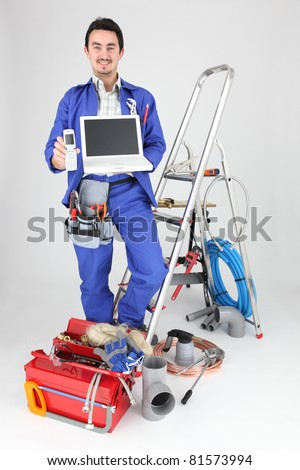 craftsman with his equipment - stock photo