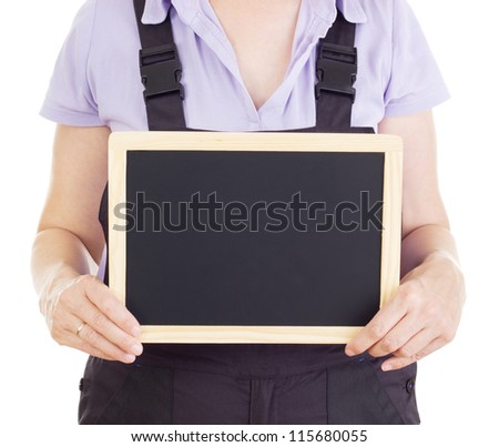 Craftsperson with blackboard