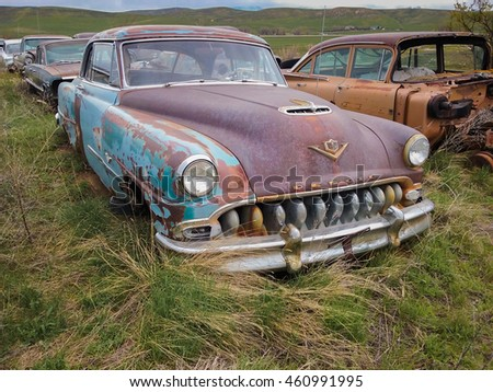 CRAIG, COLORADO - MAY 6, 2016: rusty classic car