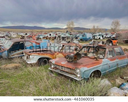 CRAIG, COLORADO - MAY 6, 2016: rusty classic cars
