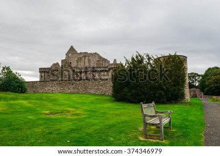 Craigmillar Castle in Edinburgh, Scotland, was founded circa 1400 by the Preston family and has strong historical connections with Mary Queen of Scots who was a frequent visitor - stock photo