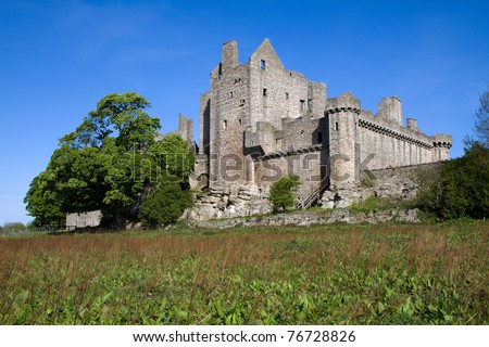 Craigmillar Castle in Edinburgh, Scotland, was founded circa 1400 by the Preston family and has strong historical connections with Mary Queen of Scots who was a frequent visitor.