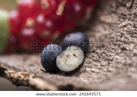 Cranberries and blueberries against a wooden background - stock photo
