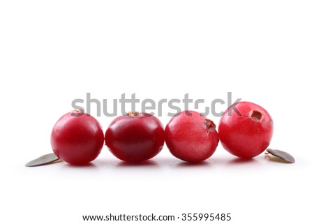 Cranberries and leaves