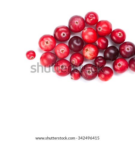 Cranberries background. close-up. Red ripe detailed forest berries. white background. copy space. up view, studio photography - stock photo